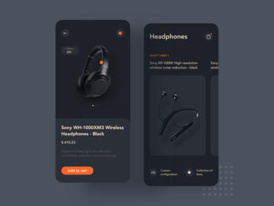Sony headset product display UI