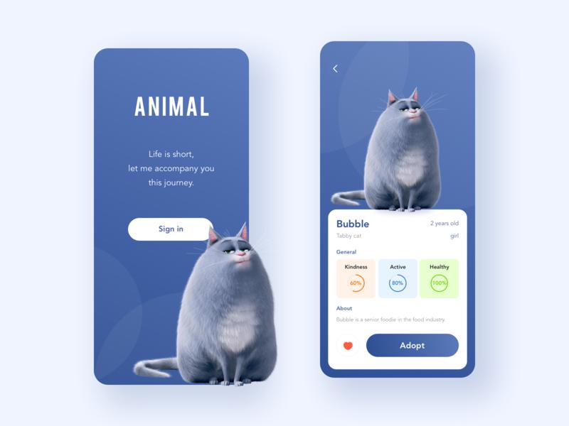 Cute cat mobile app ux ui 设计 design