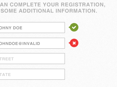 Form form input registration feedback field required optional correct false red green text