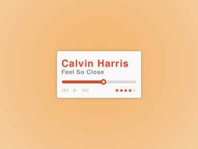 Media Player minimal media player music play rate rating ui ux design red orange white gray clean simple
