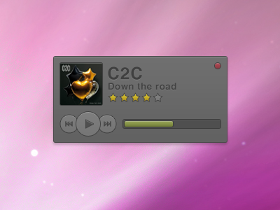 Yet another music player music player dark ui ux design grey red green progress play pause rating star yellow media