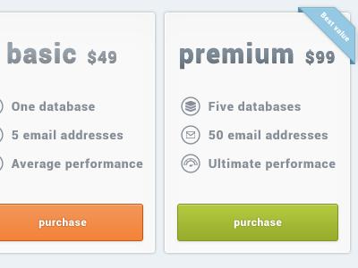 Pricing page pricing page ui web ux design green orange basic premium option plan choice