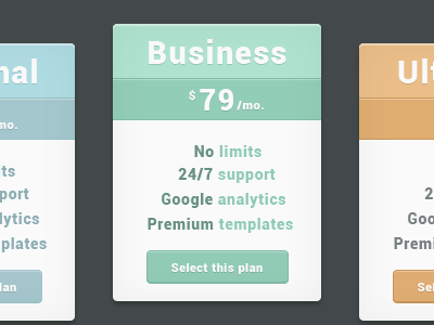 Pricing tables pricing page ui web ux design green orange blue gray basic ultimate business personal option plan choice
