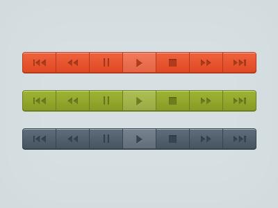 Media Controls practice ui design controls media play pause stop back rewind forward next orange green blue
