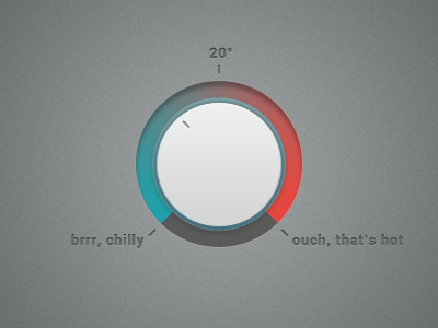 select temperature rotate button blue red cold hot warm ui design temperature