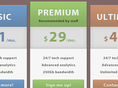 Price Tables 2 pricing page web design blue green gray brown plan ui