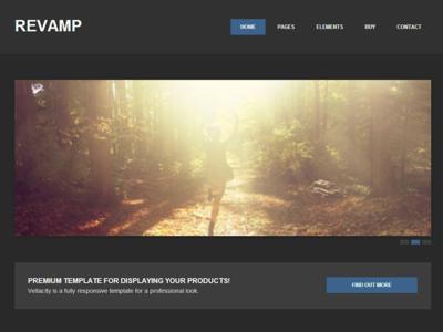 Revamp Responsive HTML5 Template revamp template responsive html5 dark blue slider carousel web design site modern clean simple gray