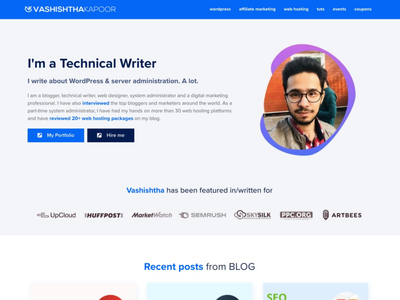 Homepage Design for Personal Blog wordpress css html design template elementor website personal branding