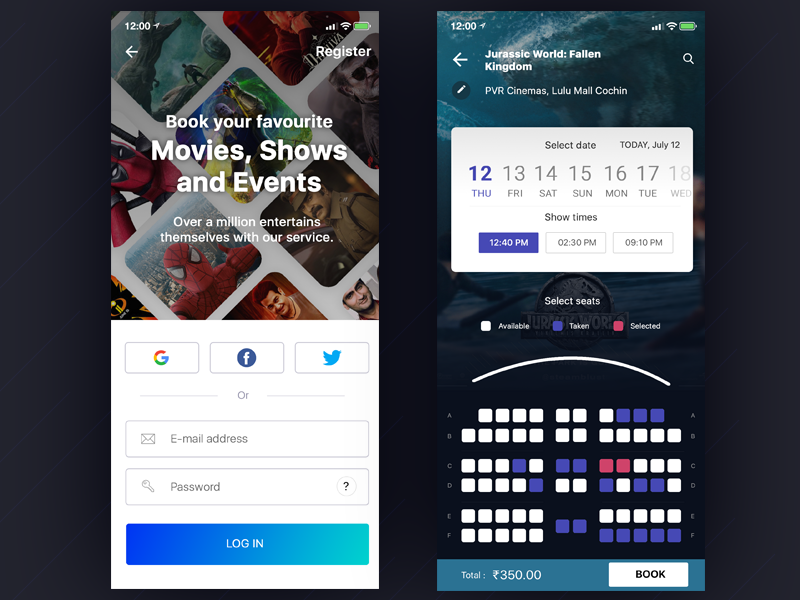 Movie ticket booking and Login screen by Muhammed Ashique