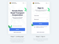 Bus booking app landing page and Sign in, Travel