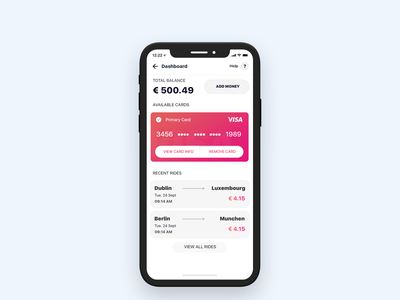 Dashboard card, credit card design, travel app