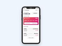 Dashboard card, credit card design, travel app