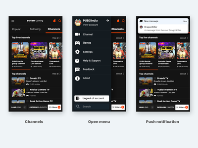 Game streaming app design flow