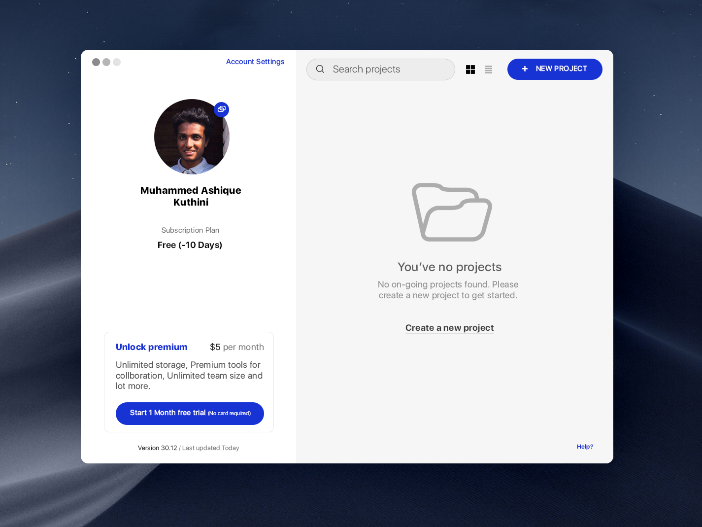 UX Experiments, Daily UI, Mac app design by Muhammed Ashique