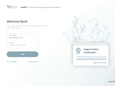 Login Screen for Applications Management