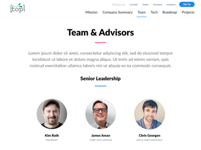 Team & Advisors page UI for Topl