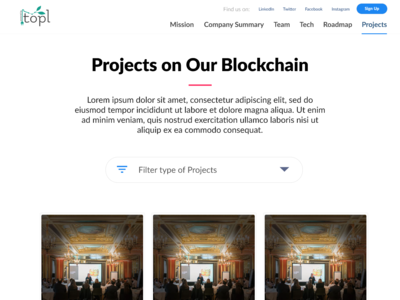 Projects page for Topl