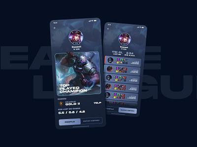 League+ Profile Re-design lol league of legends app ui interface design uiux web design mobile screen profile page profile stats game design game interface video game