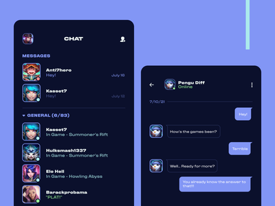 League + chat application league of legends lol app ui interface design uiux
