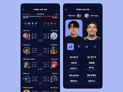 Esports Stats - League + icons esports esport scores lol league of legends stats app application ui web design interface design uiux