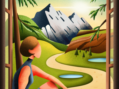 A quiet place and quiet time indoor home quarantine digital palette color colorful mountains sunrise drawing illustrator illustration