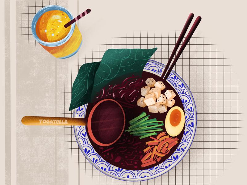 Vegetarian Ramen barcelona menu graphic design marketing drawing designer design poster food illustrator illustration ramen