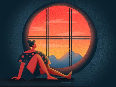 A room with a view web design illustrations designer digital drawing art procreate photoshop illustrator nature sunset design graphic illustration