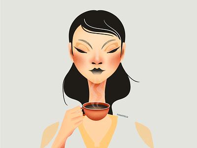 The Black Coffee Drinker graphic design digital designer design shop marketing girl drawing coffee illustrator illustration