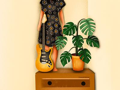 Indie Rock Girl girl designer design procreate plant music guitar drawing illustrator illustration