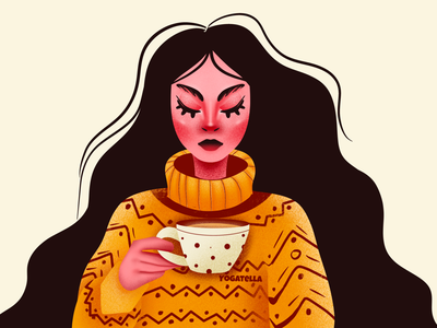 One October Friday nite yogatella autumn october cute graphic design design digital art latte illustrator drawing illustration