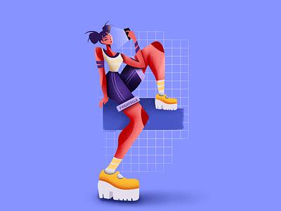 Scrolling girl character mobile website designer graphic design design art girl drawing illustrator illustration