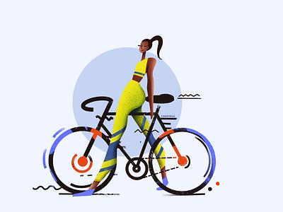 The cyclist sports digital web girl designer colorful ui design drawing illustration art illustration illustrator