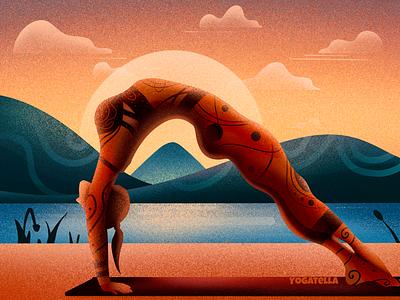 Yoga Sunset poster wellness designer web design digital yogatella illustrations graphic design yoga drawing illustrator illustration