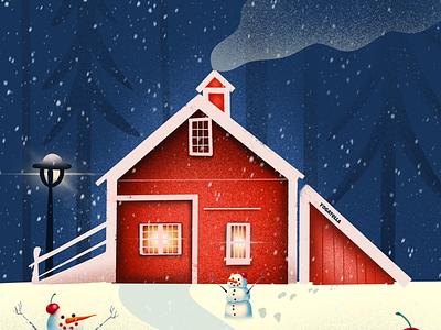 Santa's Winter cabin santa book graphic design architecture house christmas design drawing illustrator illustration