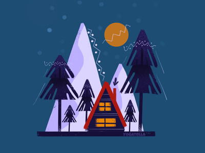Boho Cabin poster marketing cabin designer design web illustrator procreate drawing illustration