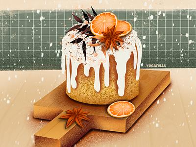 Winter magic editorial book menu winter cake food shop design digital art drawing illustrator illustrate illustration