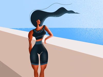 Summer Girl product designer design procreate muscles girl body beach summer drawing illustrator illustration