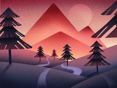 Silky Mountains poster graphic design design package patterns gradients nature landscape digital drawing illustration illustrator