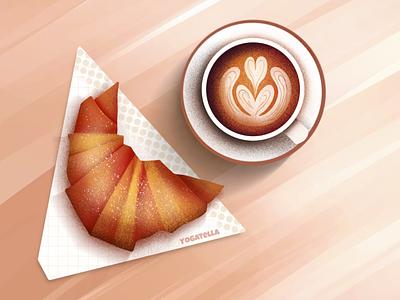 Bon jour! graphic design poster design menu food croissant latte branding marketing digital illustrator illustration ill