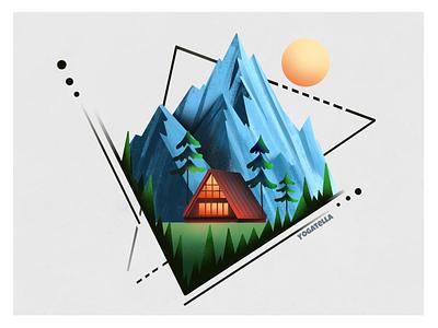 Mountain cabin mountains painting icon web design logo ui drawing design vector branding digital marketing illustrator illustration