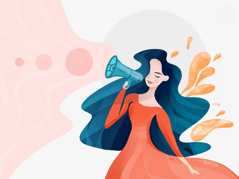 The talker yogatella painting digital branding marketing communication illustrator girl illustration blogger