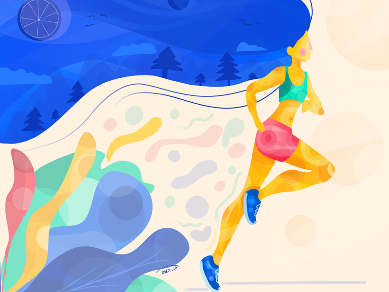Mountain runner mountains colorful procreate illustration laufen competition marathon runner running