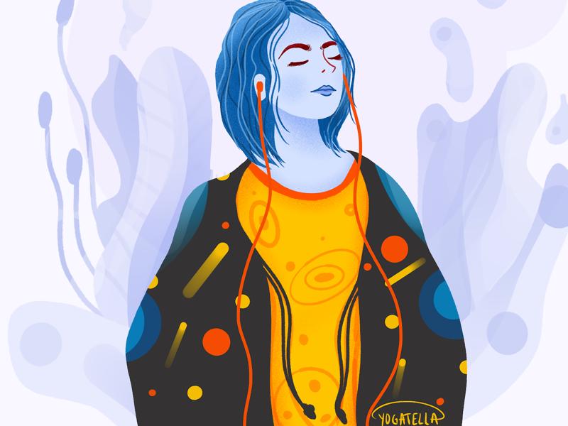 Sound of silence procreate patterns painting digital artist illustrator illustration music girl