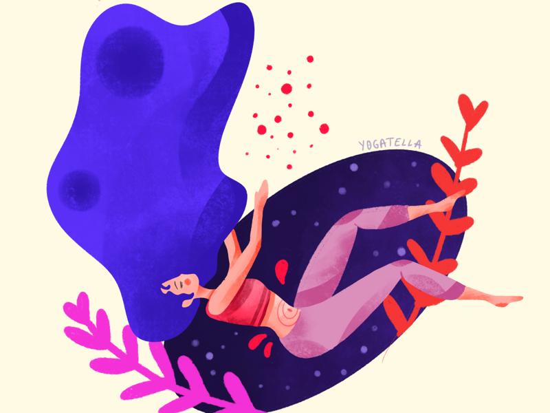 The dream ui web paining digital girl purple color illustrator drawing illustration