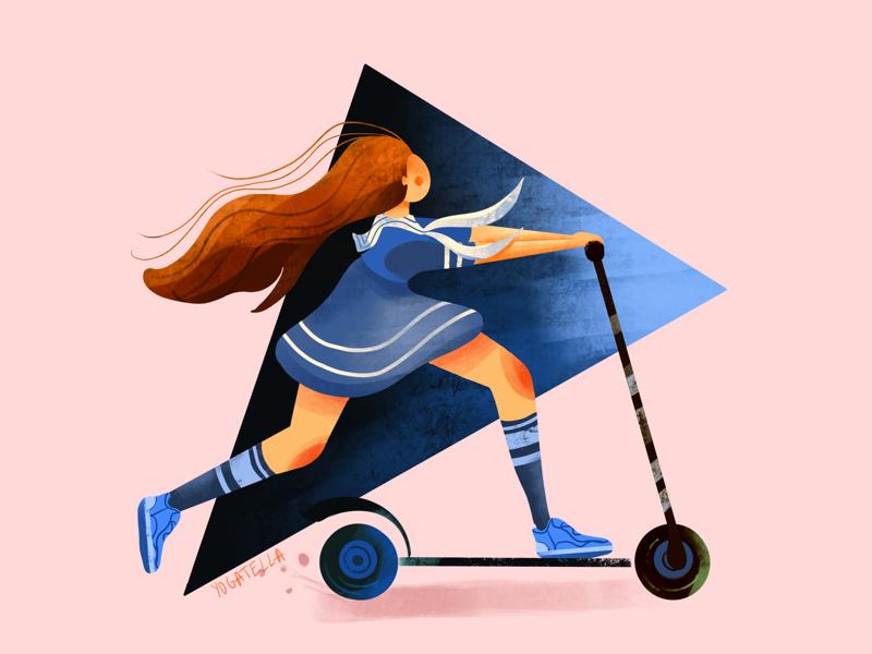 Childhood memoriez procreate marketing scooter girl sailor ux ui digital drawing illustrators illustration