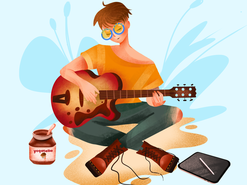 Self portrait guitarist ipad digital ui girl drawing yogatella nutella music guitar illustrator illustration
