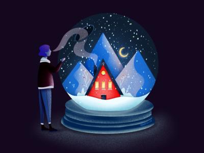 Far from home landing page ui art illustrator painting home digital illustration design christmas drawing illustration