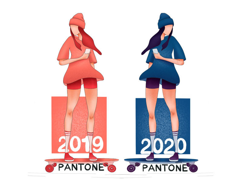 The colors of a decade skateboarding skater marketing drawing illustrator 2020 illustration new year colorful palette pantone colors