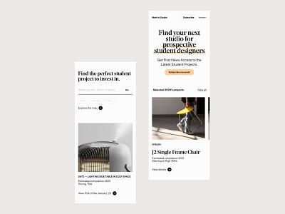 Mark's Studio, Homepage mobile luxury search clean design mobile homepage studio subtle white clean ux branding website minimal web ui typography design