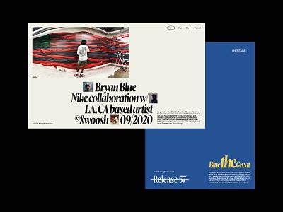 Blue — Homepage Header artist art collab jordan poster design blue poster art poster grafitti studio serif clean branding exploration website web minimal ui typography design